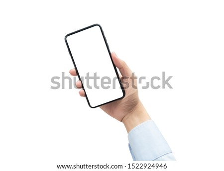 Businessman holding the black smartphone with blank screen isolated on white background with clipping path #1522924946