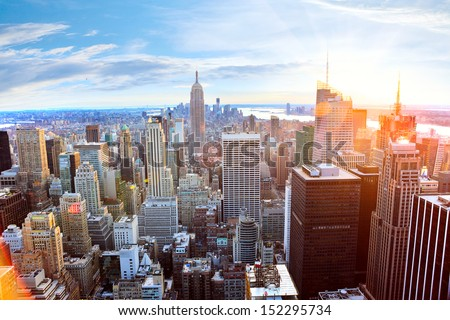 Aerial view of Manhattan skyline at sunset, New York City #152295734