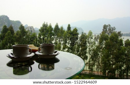 White cup of coffee. A cup of tea. Nice view from the window. Two small cups. China. #1522964609