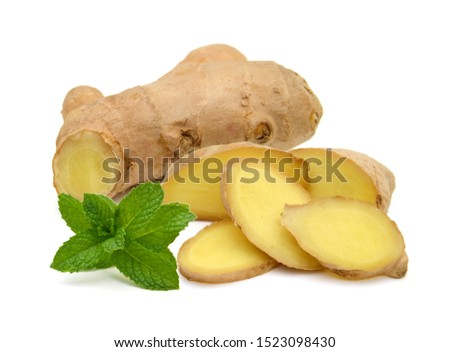 Fresh ginger root or rhizome isolated on white background cutout #1523098430