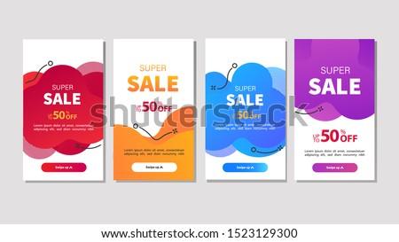 Dynamic modern fluid mobile for sale banners. Sale banner template design, Super sale special offer set.Vector illustration #1523129300