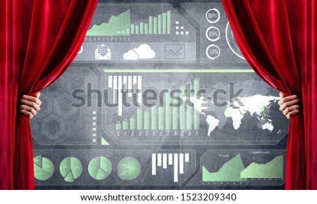 Hand opening red curtain and drawing business graphs and diagrams behind it #1523209340