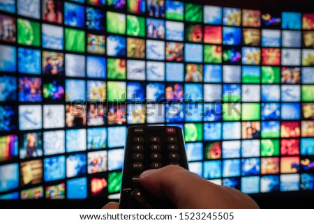Multimedia Television video streaming, Media TV on demand, web banner background #1523245505