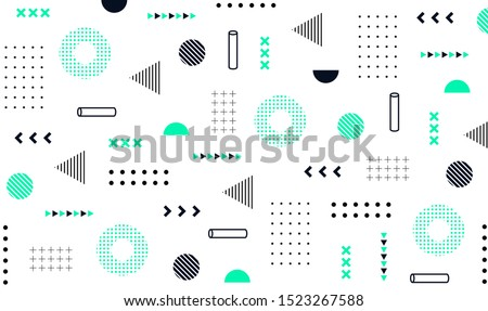Mega set of memphis design elements, template for your project. Big colorful vector collection #1523267588