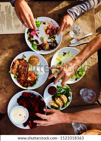Vegan shared dining helicopter view #1523318363