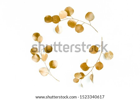 Gold round frame made of gold branches eucalyptus and leaves isolated on white background. lay flat, top view #1523340617