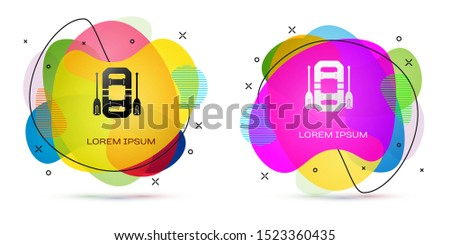 Color Rafting boat icon isolated on white background. Inflatable boat with oars. Water sports, extreme sports, holiday, vacation, team building. Abstract banner with liquid shapes. Vector Illustration #1523360435