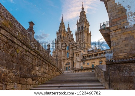 Santiago de Compostela Cathedral, Galicia, Spain in the morning Royalty-Free Stock Photo #1523460782