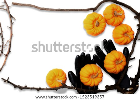 pumpkin background Halloween wooden framework texture, spooky scary pumpkin head or jack lantern cartoon on black hands, October Halloween festival and thanksgiving concept design with copy space