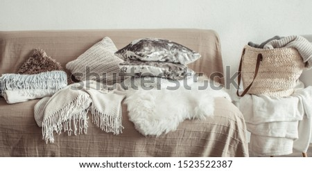 Modern interior of the living room with a sofa and decorative items . Decorative pillows and blankets. Coziness and comfort at home . #1523522387