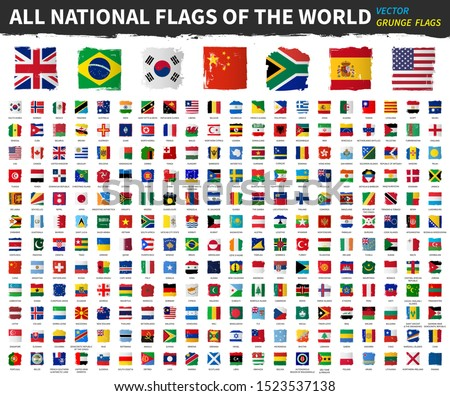 All national flags of the world . Grunge square shape watercolor painting flag design . White isolated background . Element vector . #1523537138