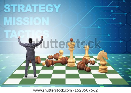 Strategy and tactics concept with businessman #1523587562