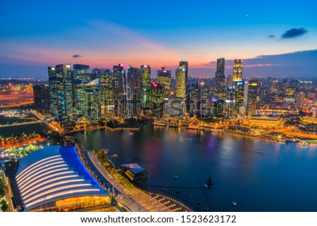 Panorama view of Singapore financial district skyline at night. #1523623172