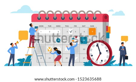 People planning concept. Entrepreneurship and calendar schedule planning with filling course campaign. Vector illustrations business meeting and events organizing process office working #1523635688