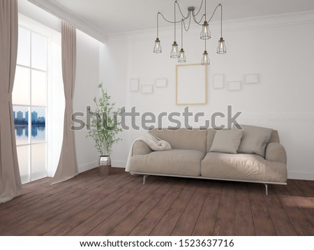 modern room with sofa,plaid,frames and curtains interior design. 3D illustration #1523637716