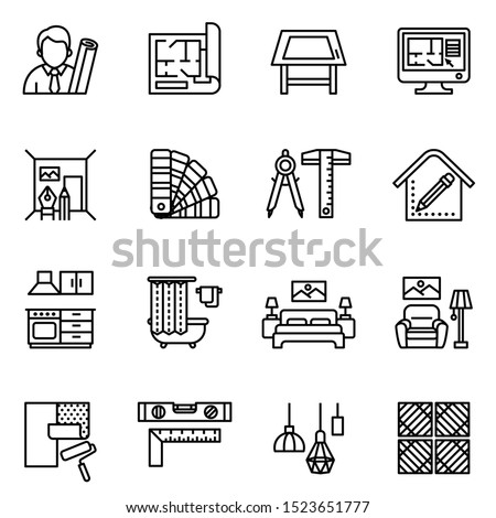 interior design icon set with white background. Line style stock vector. Royalty-Free Stock Photo #1523651777