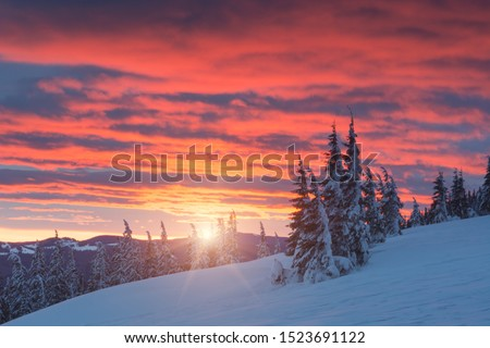 The mountain valley in majestic red light of sunrise. Cold winter morning. #1523691122