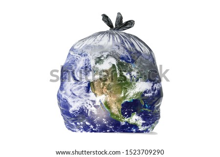Earth like a trash bag. Global catastrophe concept (pollution, garbage, plastic, greenhouse effect, global warming are destroying our planet). Royalty-Free Stock Photo #1523709290