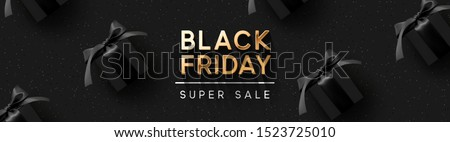 Black Friday Super Sale. Realistic black gifts boxes. Pattern with gift box. Dark background golden text lettering. Horizontal banner, poster, header website. vector illustration Royalty-Free Stock Photo #1523725010