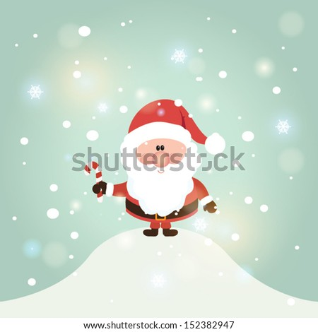 Vector illustration for retro christmas card. Snow landscape background with santa claus. #152382947