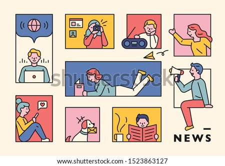 People gathering news from various media in the window of square frame. flat design style minimal vector illustration. Royalty-Free Stock Photo #1523863127
