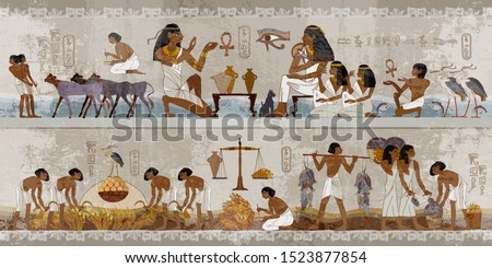 Ancient Egypt frescoes. Agriculture, workmanship, fishery, farm. Life of egyptians. Hieroglyphic carvings on exterior walls of an ancient temple. History art #1523877854