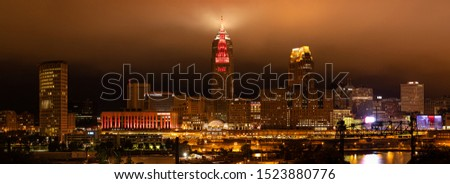 Cleveland, city in the state of Ohio, United States of America, at night, during low overcast sky