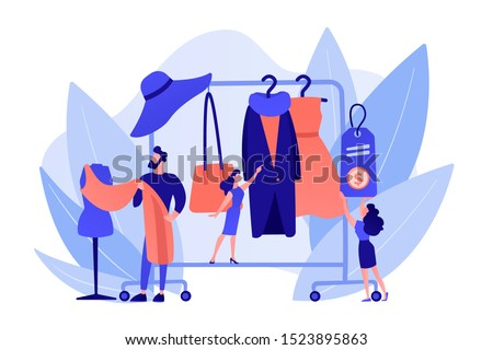 Main master designer creating fashion clothes designs and hanging it on coat rack. Fashion house, clothing design house, fashion production concept. Pinkish coral bluevector isolated illustration #1523895863