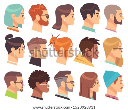 Flat heads in profile. Different human heads, male and female with various hairstyles and accessories. Colorful web avatars vector simple symbol of face character set Royalty-Free Stock Photo #1523928911