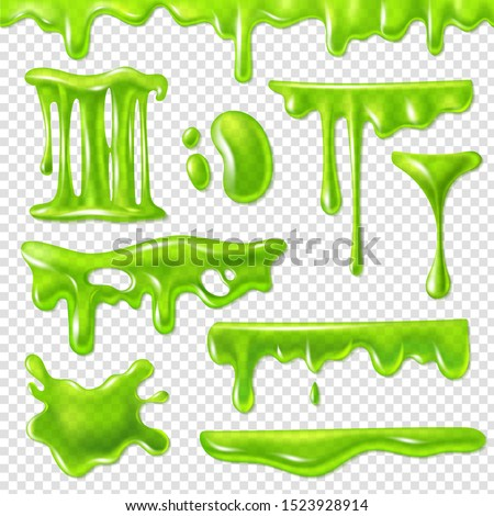 Realistic green slime. Slimy toxic blots, goo splashes and mucus smudges. Halloween liquid decoration borders 3d isolated vector drip of snot syrup set #1523928914