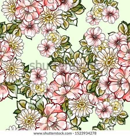 Flower print. Elegance seamless pattern. #1523934278