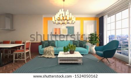 Interior of the living room. 3D illustration. #1524050162