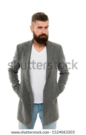Owner of brutal beard. Caucasian man with brutal appearance. Bearded man with moustache and beard on unshaven face in brutal style. Brutal hipster wearing casual outfit. #1524063203