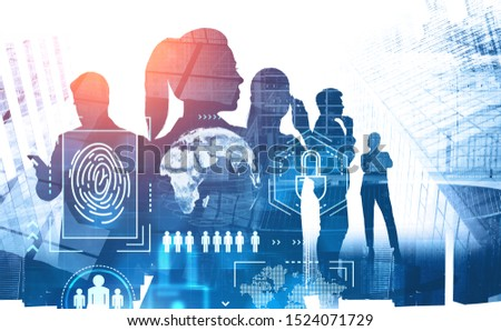 Silhouettes of business people using gadgets in city with double exposure of online security digital interface. Concept of hi tech. Toned image. Elements of this image furnished by NASA #1524071729