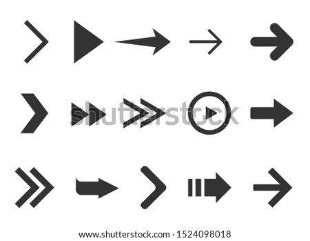 Black web arrows collection isolated on white background. Collection for web design, interface, UI and more. #1524098018