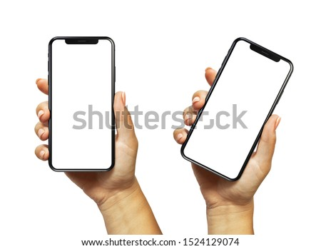 Cracow, Malopolskie / Poland - October 07 2019: Woman hand holding iPhone 11. The black Apple iPhone 11 Pro with blank screen template - modern frameless design #1524129074