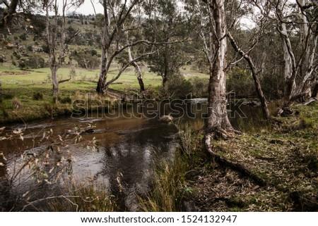 Rural waterway in Rural Victoria, Australia, highlighting the surrounding landscape  #1524132947