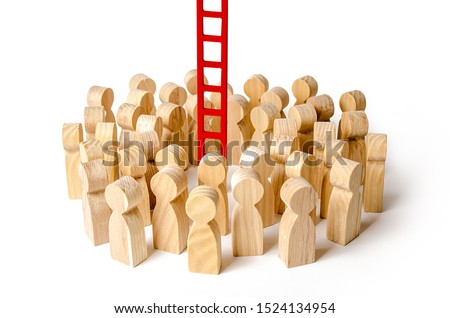 A crowd of people gathered at a red stairs. Raising and moving up the career ladder. difficult way to success. Support and help. Tools to achieve the goal. Cooperation and Collaboration #1524134954
