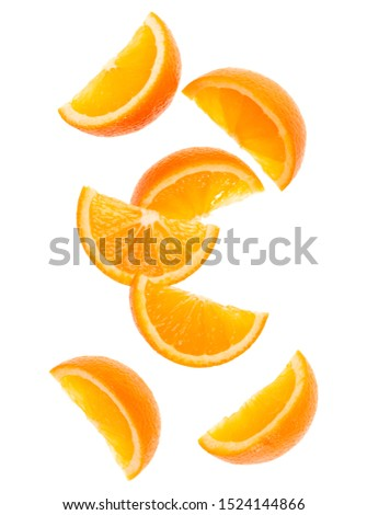 falling fresh orange fruit slices isolated on white background closeup. Flying food concept. Top view. Flat lay. Orange slice in air, without shadow... #1524144866
