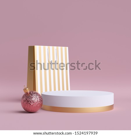 3d Christmas feminine commercial mockup. Shopping bag, round podium, glass ball ornament. Clip art isolated on pink background. Blank cylinder platform. Copy space. Product display for advertisement