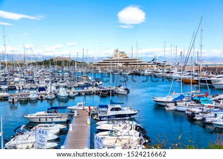ANTIBES, FRANCE - September 25, 2019: aerial view of the luxury marina in Antibes on french riviera, cote d'azur, France #1524216662