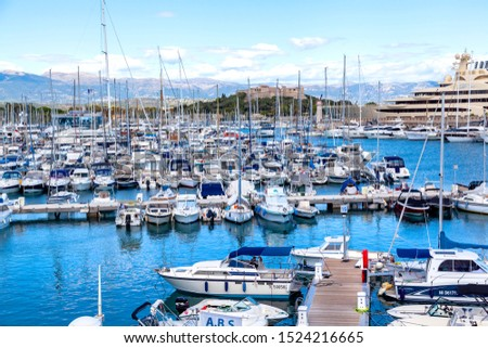 ANTIBES, FRANCE - September 25, 2019: aerial view of the luxury marina in Antibes on french riviera, cote d'azur, France #1524216665