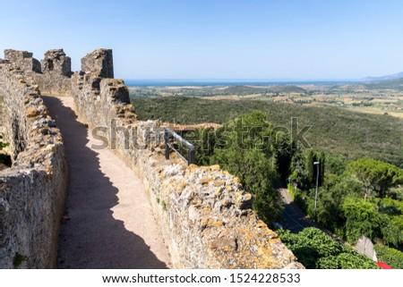 Landscape of Maremma at summer from Capalbio (Grosseto, Tuscany, Italy), historic village #1524228533