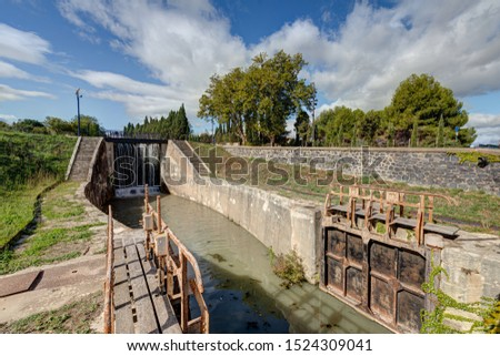 The nine locks of Fonseranes - Beziers in the department of Herault - Occitania - France #1524309041