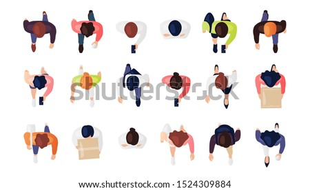 Top view of people set isolated on a white background. Men and women. View from above. Male and female characters. Simple flat cartoon design. Realistic vector illustration. Royalty-Free Stock Photo #1524309884