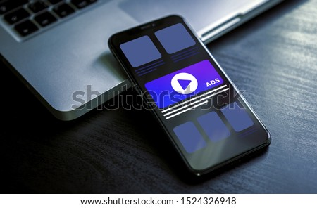 Online advertising on mobile device - Programmatic Advertising cross targeting. Targeted inbound ad and digital marketing industry ads effect concept Royalty-Free Stock Photo #1524326948