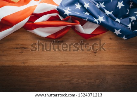 American flag on a old wooden. Flag USA as a patriotic background