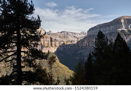 The Cotatuero waterfall, the Rolando Gap and the Marboré hull seen from the hunter's path in the Ordesa and Monte Perdido National Park. Pyrenees. Huesca. Aragon. Spain. #1524380159