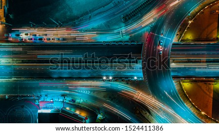 Expressway top view, Road traffic an important infrastructure in Thailand #1524411386
