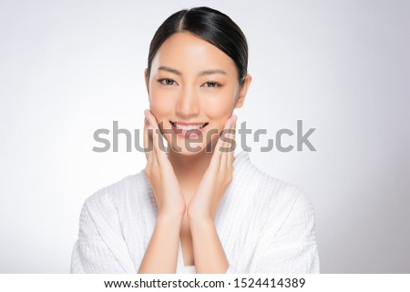 Beautiful Young Asian Woman with Clean Fresh Skin is touching her face, Facial treatment, Cosmetology, beauty and spa, #1524414389